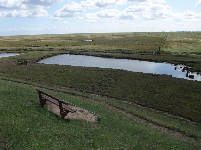 Seat with a view across Frampton Marsh