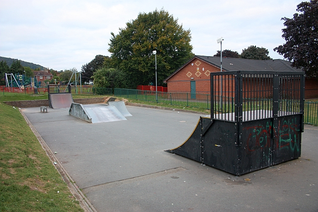 Skate-board ramps, Victoria Park, Malvern Link