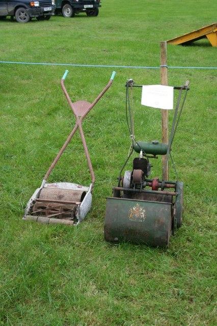 Lawn mowers on display
