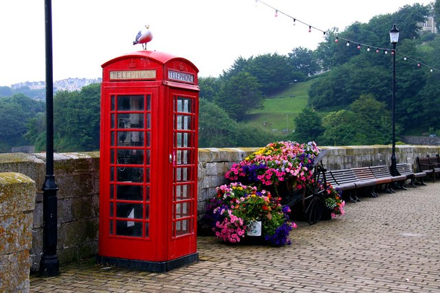 Telephone box on the harbour pier at Ilfracombe