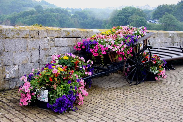 Floral display on the pier at Ilfracombe harbour
