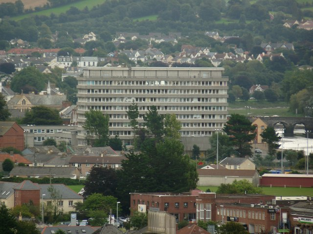 Barnstaple Civic Centre dominating the centre of this image