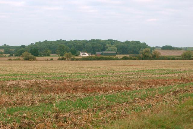 View across farmland to Whitehall Farm