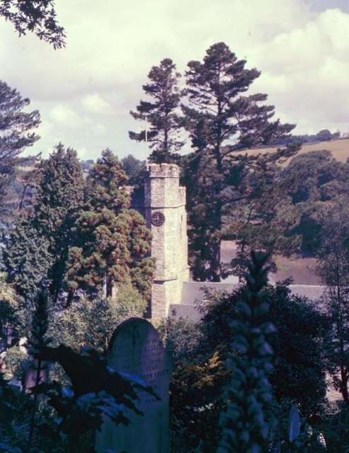 Church tower in the trees at St Just - 1962