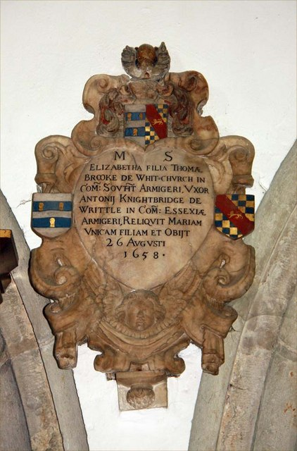 All Saints, Writtle, Essex - Wall monument