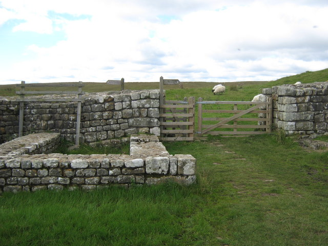 Hadrian's Wall at the Knag Burn northeast of Housesteads Fort