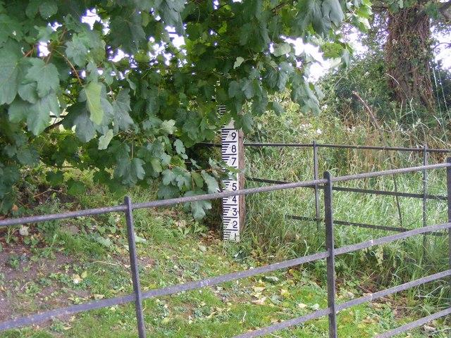 River depth-gauge near Odda's Chapel, Deerhurst nr. Tewkesbury