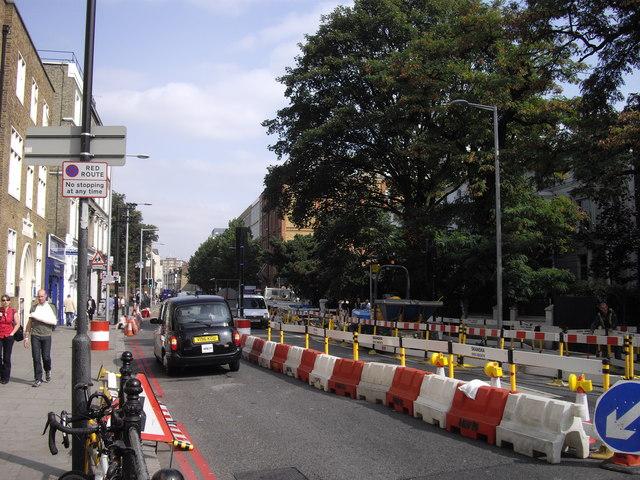 Roadworks in Fulham Road
