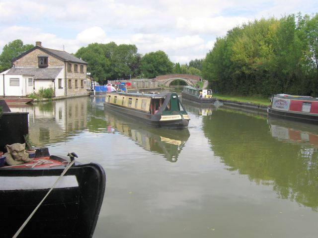 "Narrowboat ""Honeystreet"" at the Marsworth Junction on the Grand Union Canal"