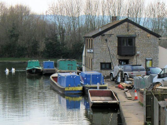 Canal Waterway Office with maintenance barges