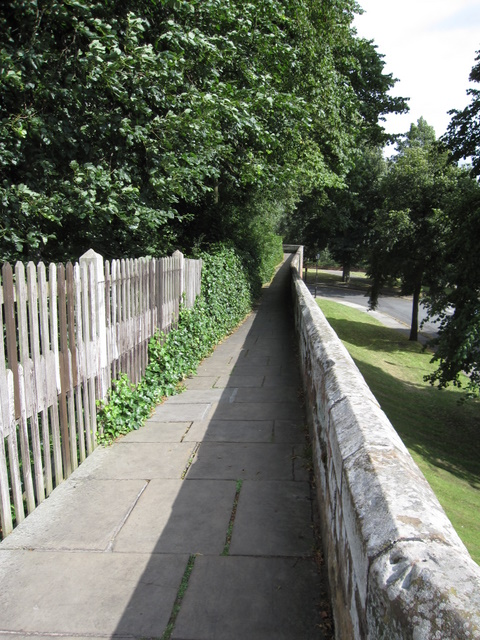 Looking along the city walls to the south west corner