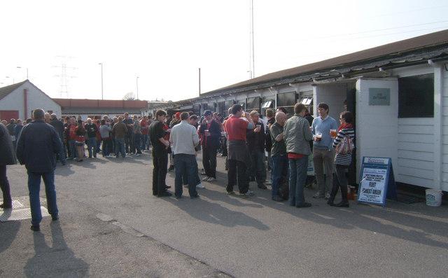 Outside the club bar, Plough End, Stonebridge Road, Ebbsfleet United Football Club