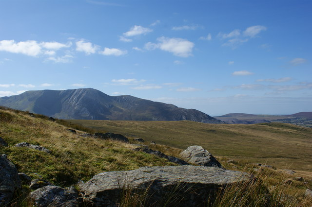 Carnedd y Filiast and Penrhyn Quarry from the lower slopes of Mynedd Du