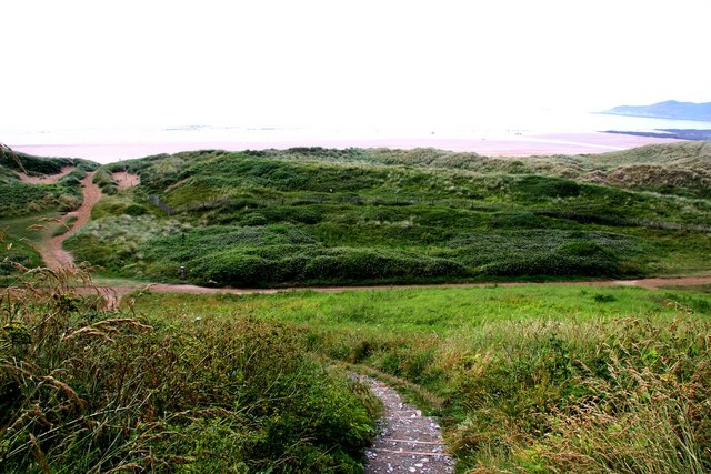 The South-West Coast Path runs through the dunes at Woolacombe