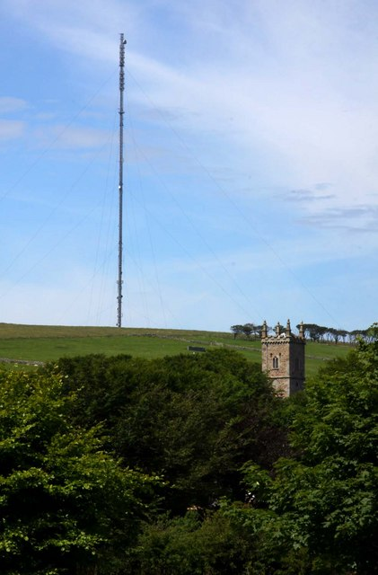 Church and radio mast in Princetown