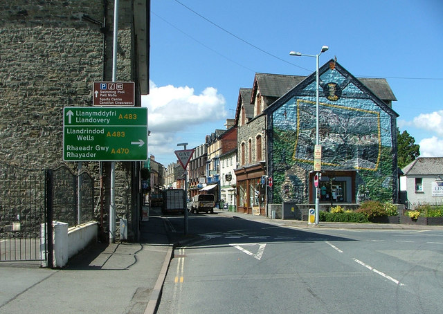 Entering Builth Wells from the A470