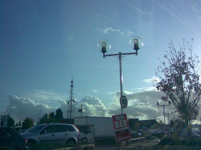Ornate spherical lamp posts in Matalan car park