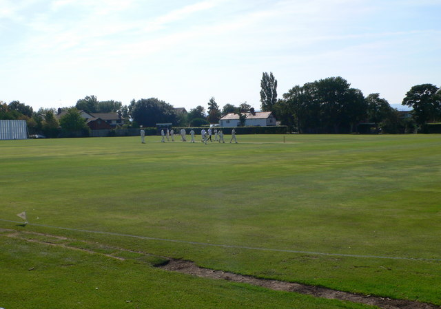 End of an over at Neston Cricket Ground