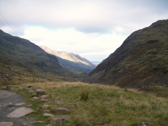 View down the Llanberis Pass from the Pyg Track