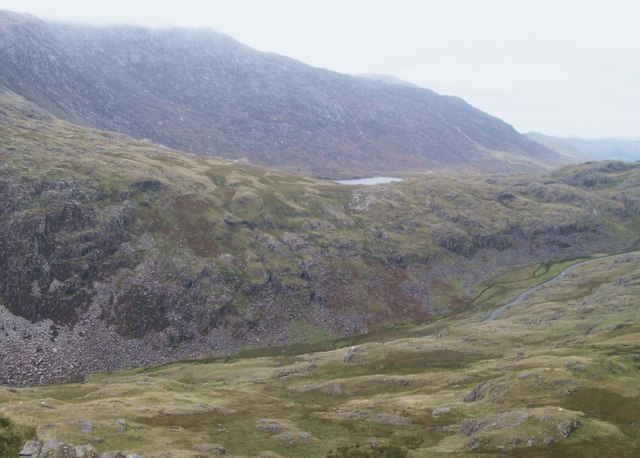 View across Llanberis Pass in the direction of Llyn Cwmffynnon lake