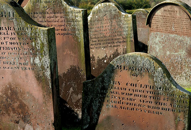 Gravestones in Brydekirk Parish Churchyard