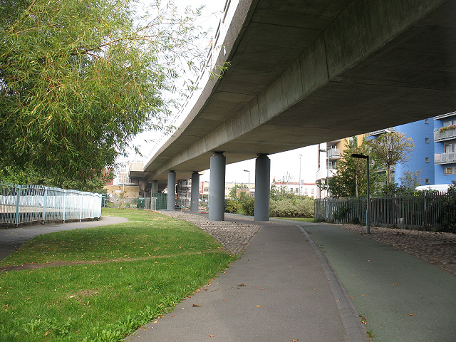 Cycle path under the DLR viaduct