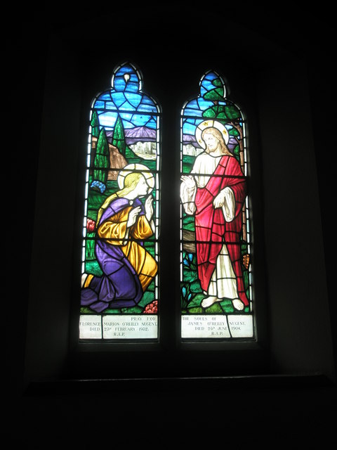 Stained glass windows on the west wall at Sacred Heart RC Church, Fareham