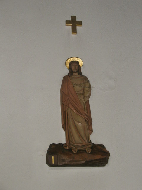 Statue of Christ on the north wall at Sacred Heart RC Church, Fareham