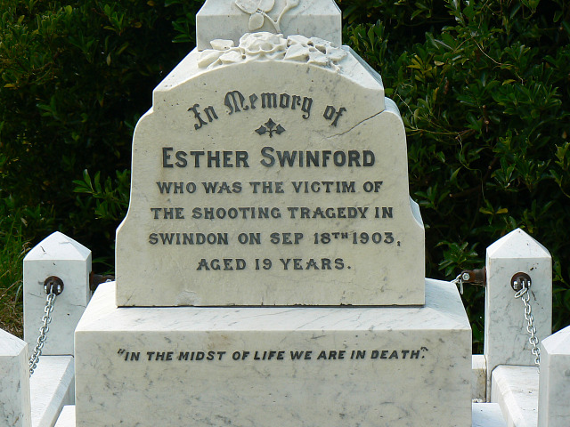 Inscription on the grave of Esther Swinford, Radnor Street cemetery, Swindon