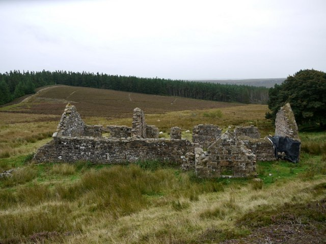 Harbottle Crag ruined farmstead
