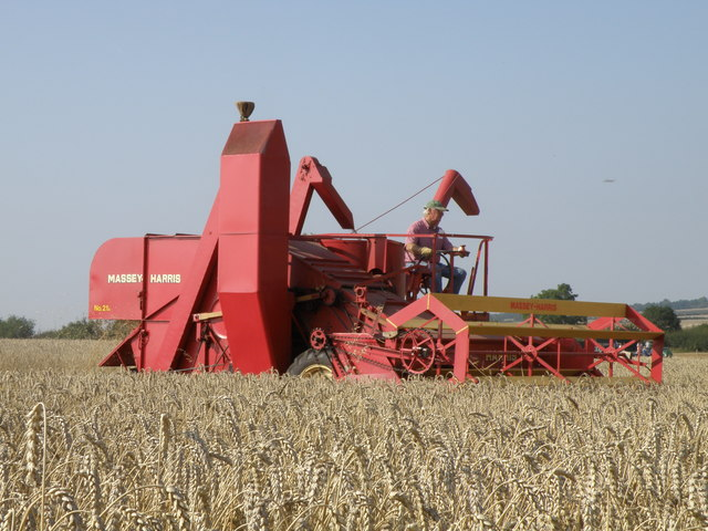 Classic combine harvester working at Little Casterton