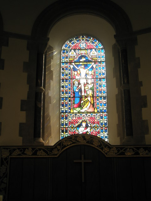 Stained glass window above the altar at St Barnabas, Swanmore