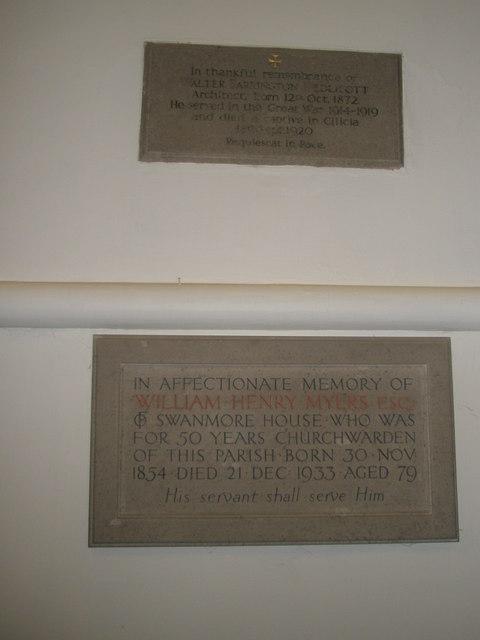 Memorials on the north wall at St Barnabas, Swanmore