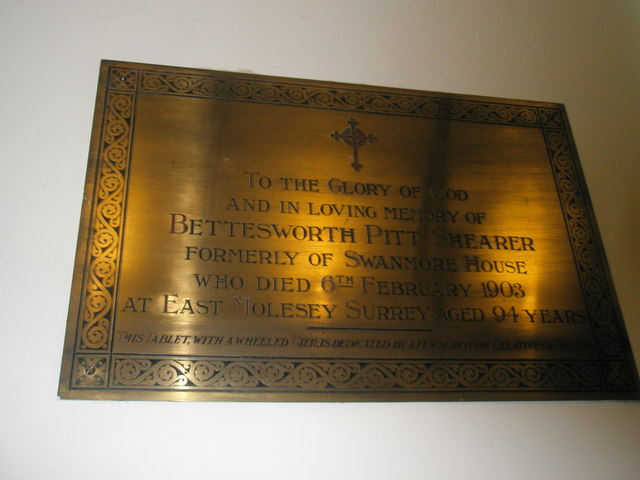 Brass tablet on the wall at St Barnabas, Swanmore