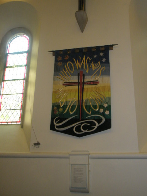Banner on the north wall at St Barnabas, Swanmore