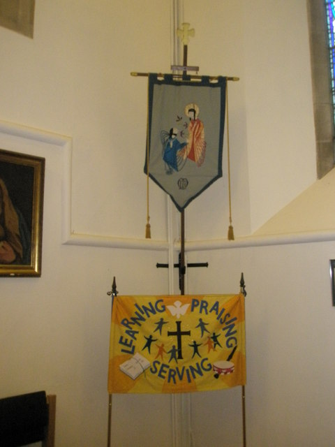 Banners near the font at St Barnabas, Swanmore