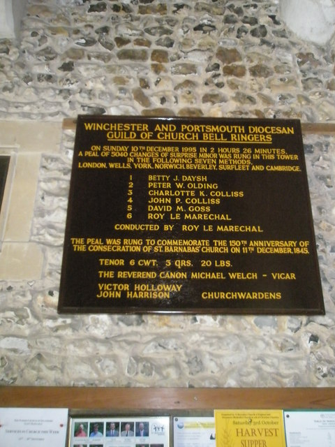 Commemorative plaque in the porch at St Barnabas, Swanmore (1)
