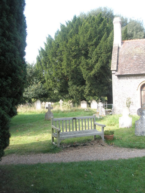 Seat in the churchyard at St Barnabas, Swanmore