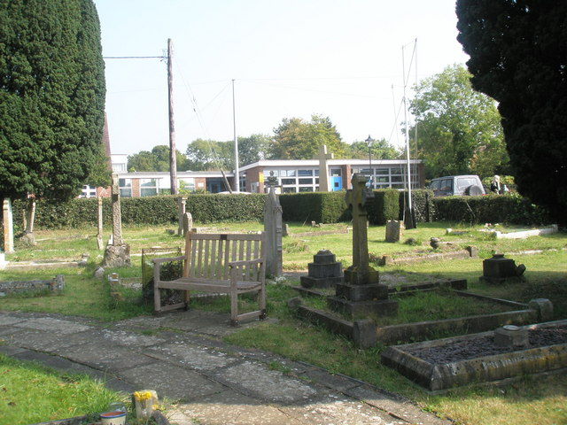 Looking from the churchyard across to the primary school