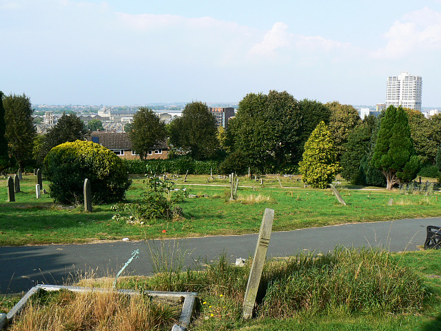 Central Swindon from Radnor Street cemetery