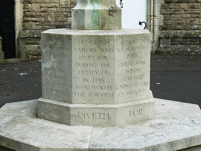 Inscription, war memorial, Radnor Street cemetery, Swindon