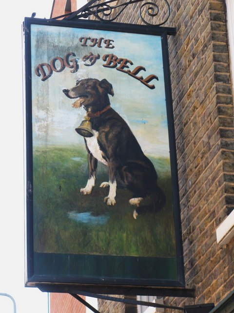 Sign for The Dog and Bell, Prince Street, SE8