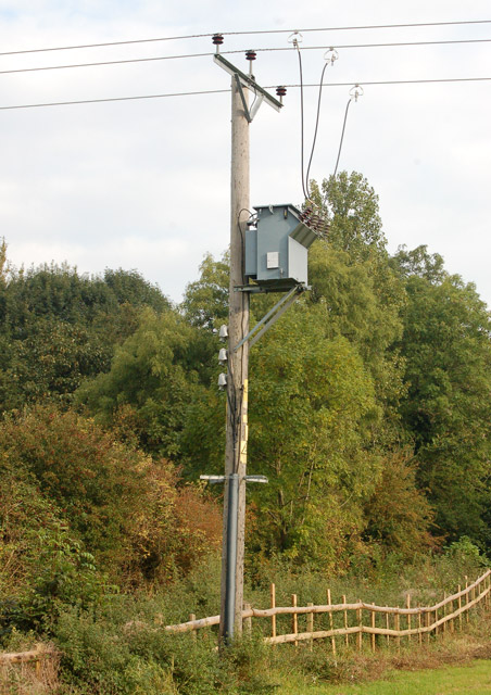 Transformer beside unclassified road in Napton