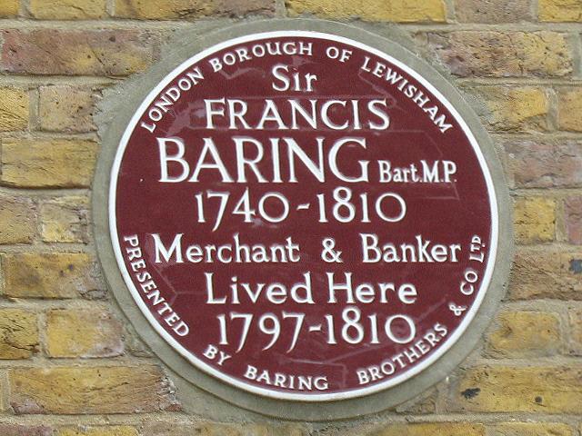 Francis Baring maroon plaque - Sir Francis Baring Bart. M.P. 1740-1810 Merchant & Banker lived here 1797-1810