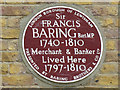 TQ3975 : Plaque to Sir Francis  Baring by Stephen Craven