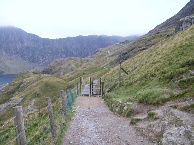 Twin stiles on the Pyg Track at Bwlch y Moch
