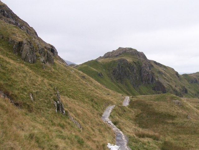 View eastwards along the Pyg Track in the direction of Bwlch y Moch