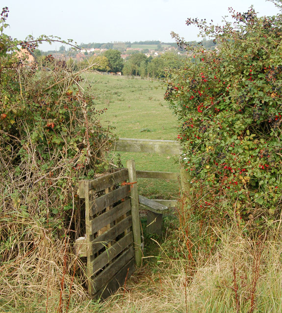 Pallet 'gate' and stile southeast of Napton