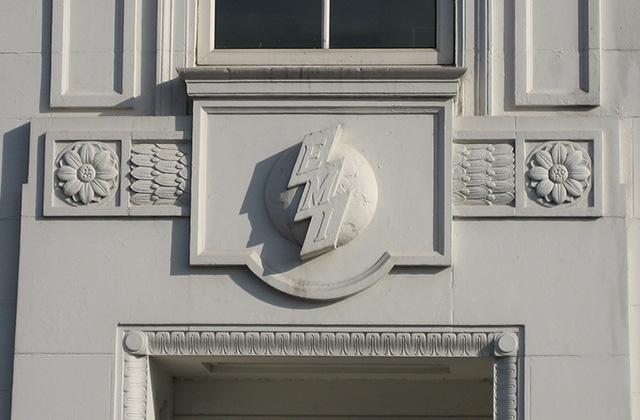 EMI logo on HQ building, Hayes