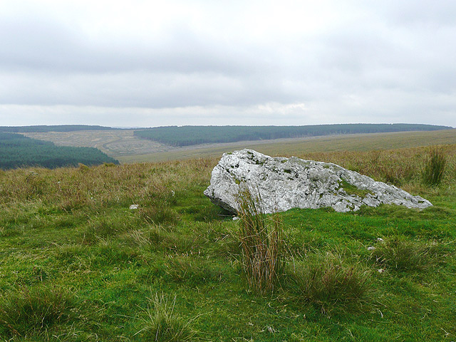 Recumbent stone on Drum Nantygorlan, Ceredigion